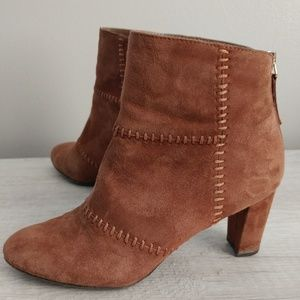 Aerosoles First Ave Tan Suede Ankle Boots 6.5M EUC